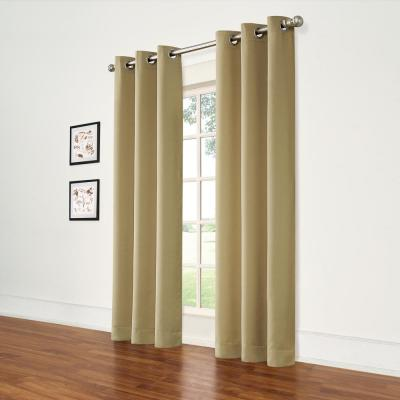 Taupe Thermal Room Darkening Window Curtain Pair - 37 in. W x 63 in. L (Pair)