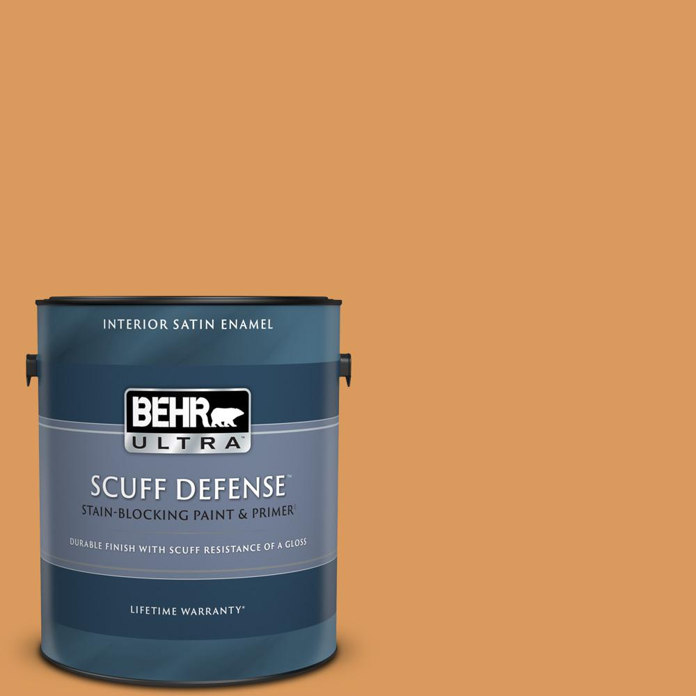 Behr Ultra 1 Gal M240 6 Stunning Gold Extra Durable Satin Enamel Interior Paint And Primer In One 775301 The Home Depot