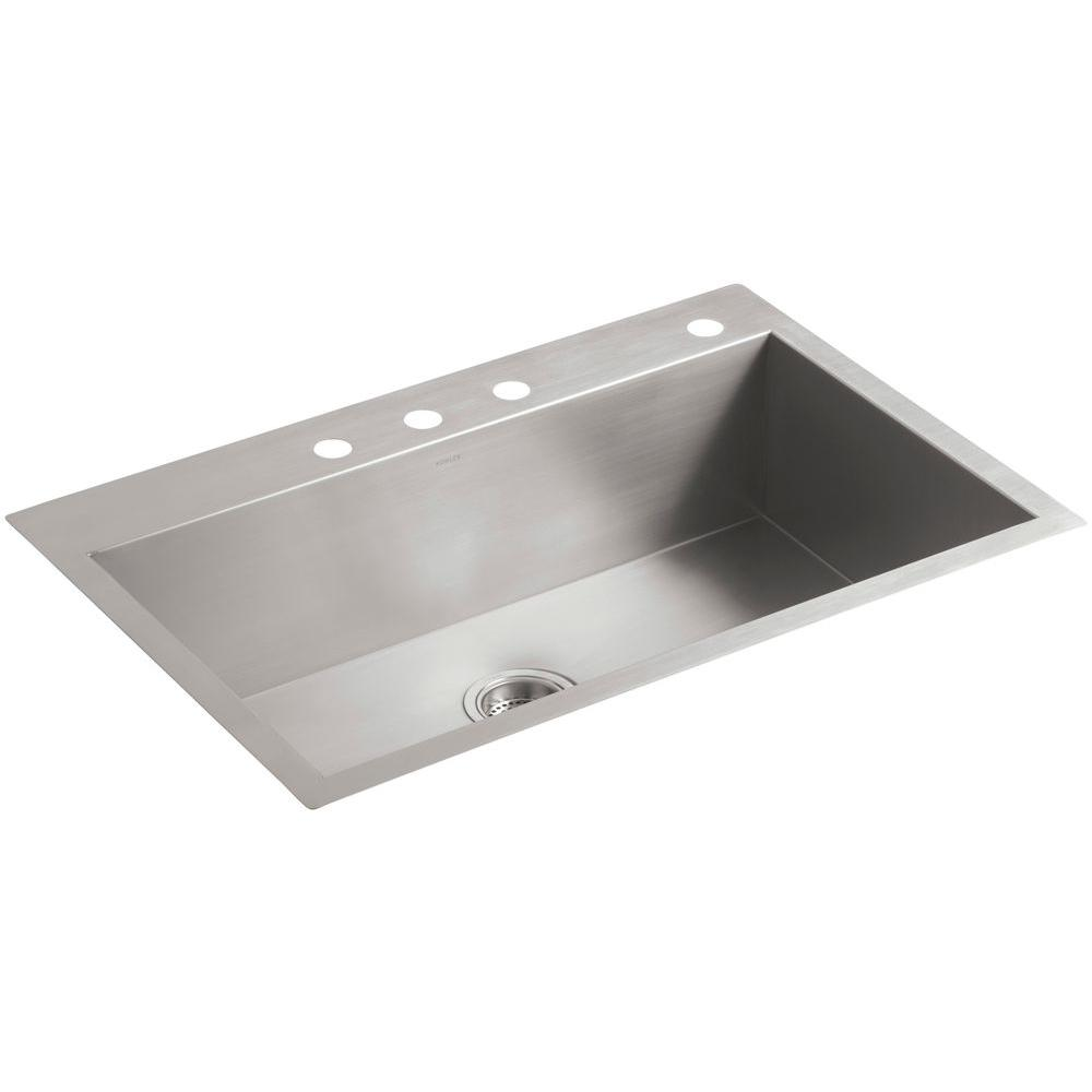 KOHLER Vault Drop-In/Undermount Stainless Steel 33 in. 4-Hole Single on light kitchen sinks, ornate kitchen sinks, undermount kitchen sinks, double kitchen sinks, cheap kitchen sinks, restaurant kitchen sinks, white kitchen sinks, cool kitchen sinks, electric kitchen sinks, furniture kitchen sinks, appliances kitchen sinks, portable kitchen sinks, side by side kitchen sinks, amazon kitchen sinks, black kitchen sinks, best kitchen sinks, brown kitchen sinks, tall kitchen sinks, stainless steel kitchen sinks, unique kitchen sinks,