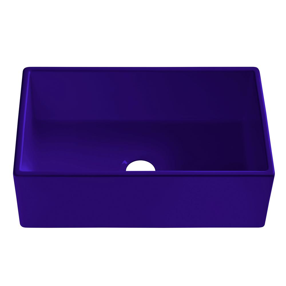 SINKOLOGY Bradstreet II Farmhouse Fireclay 30 in. Single Bowl Kitchen Sink in Puddle Jump Gloss Royal Blue