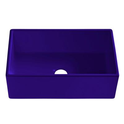 Bradstreet II Farmhouse Fireclay 30 in. Single Bowl Kitchen Sink in Puddle Jump Gloss Royal Blue