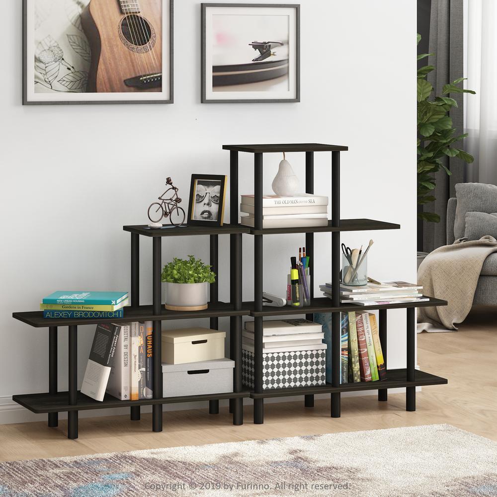 Turn-N-Tube Espresso/Black 4-Tier Cube Ladder Shelf