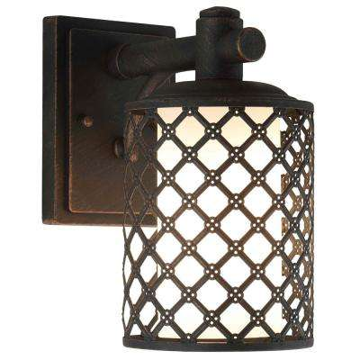 1-Light Aged Bronze Outdoor Wall Mount Sconce with Opal Glass Shade