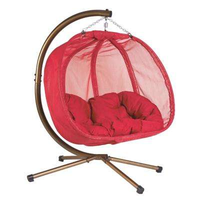 5.5 ft. x 4 ft. W Hanging Pumpkin Patio Swing with Base in Red (Hammock)