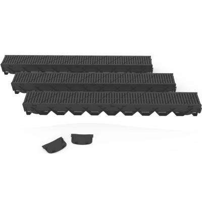 Storm Mate Low Profile 5 in. W x 3 in. D x 39.4 in. L Channel Drain Kit with Black Heel Guard Grate (3-Pack)