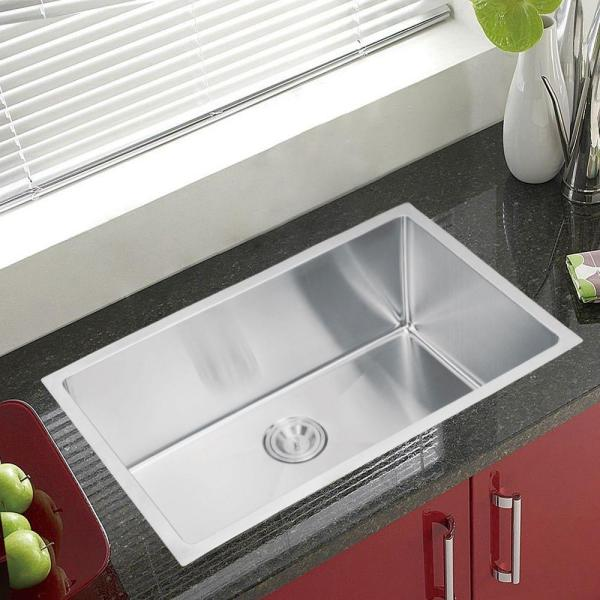 Water Creation Undermount Small Radius Stainless Steel 30 In 0 Hole Single Bowl Kitchen Sink In Satin Finish Ss U 3018b The Home Depot