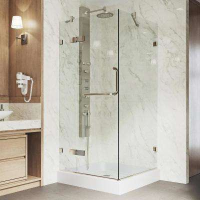 Monteray 32.375 in. x 79.25 in. Frameless Pivot Shower Door in Brushed Nickel with Clear Glass with Base