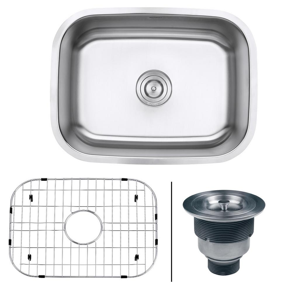 Ruvati 24 in. Single Bowl Undermount 16-Gauge Stainless Steel Kitchen Sink, Brushed Stainless Steel With the beauty and functionality of large, deep bowls and classic rounded corners, the Parmi series will complement any kitchen. The gently curved corners ensure perfect water drainage, and makes it easy to keep the sink clean. The commercial grade brushed stainless finish hides scratches and blemishes and matches well with your other kitchen appliances. Color: Brushed Stainless Steel.