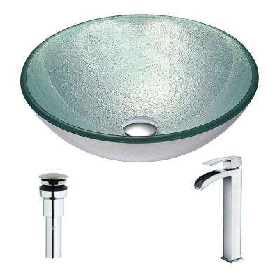 Spirito Series Deco-Glass Vessel Sink in Churning Silver with Key Faucet in Polished Chrome