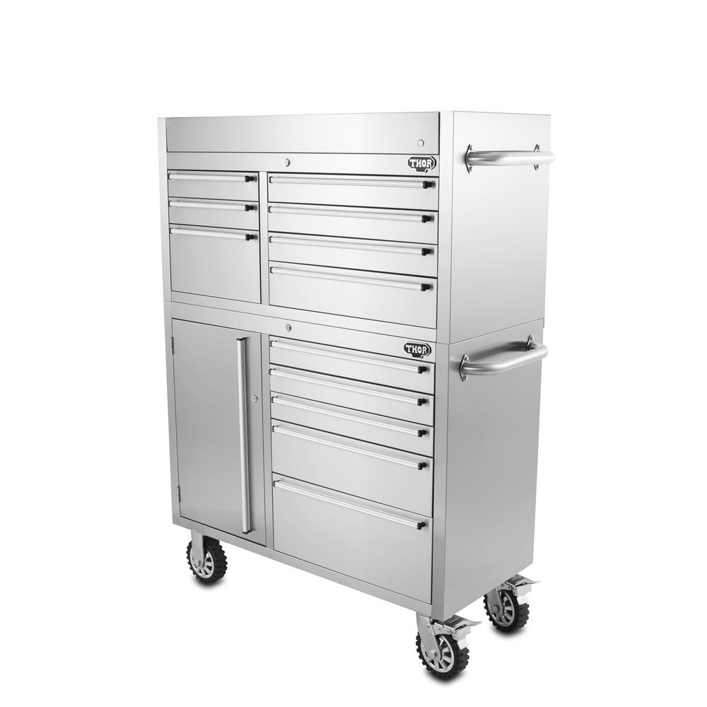 12 Drawer Tool Chest And Cabinet Combo In Stainless Steel