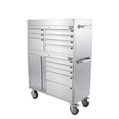 41 in. 12-Drawer Tool Chest and Cabinet Combo in Stainless Steel
