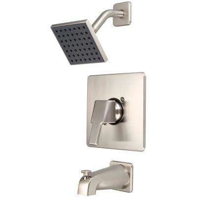 i3 1-Handle Wallmount Tub and Shower Trim Kit in Brushed Nickel with 4 in. Sqaure Showerhead (Valve Not Included)