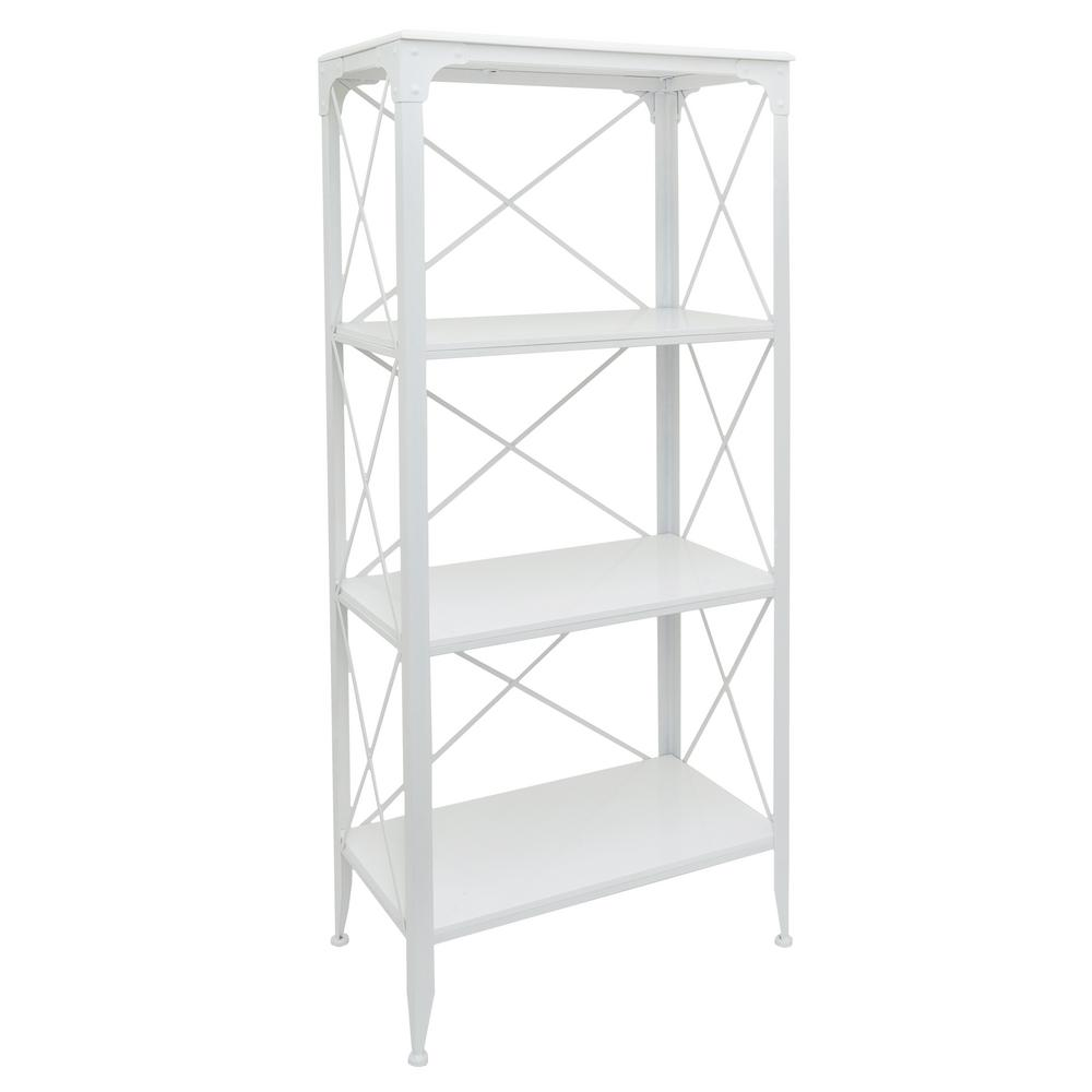THREE HANDS White Metal/Wood Shelving Unit-29895 - The Home Depot
