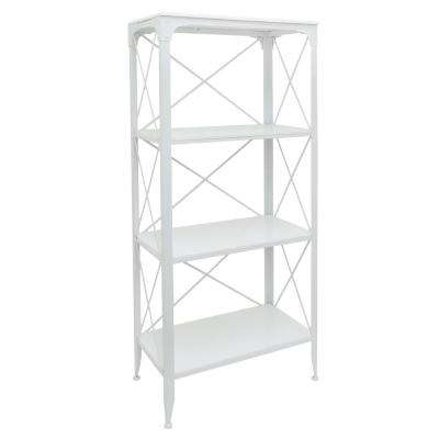 White Metal/Wood Shelving Unit