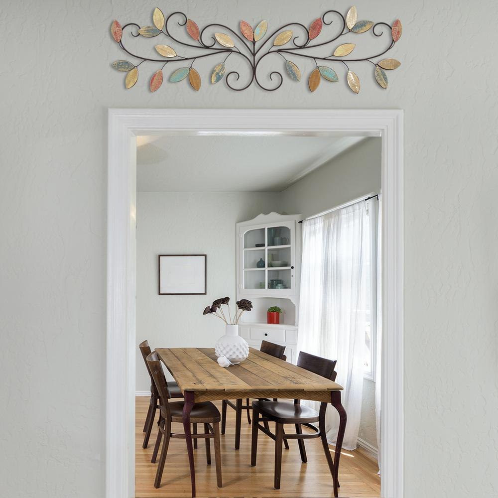 stratton home decor wooden leaves over the door wall decor s07680 the home depot. Black Bedroom Furniture Sets. Home Design Ideas