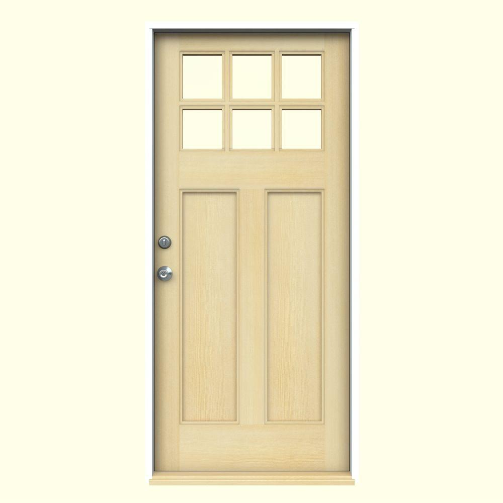 JELD-WEN 36 in. x 80 in. Craftsman 6-Lite Unfinished Fir Prehung Front Door with Primed White AuraLast Jamb and Brickmould