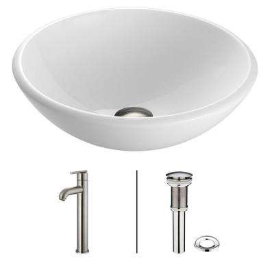 Phoenix Stone Glass Vessel Sink in White with Faucet in Brushed Nickel