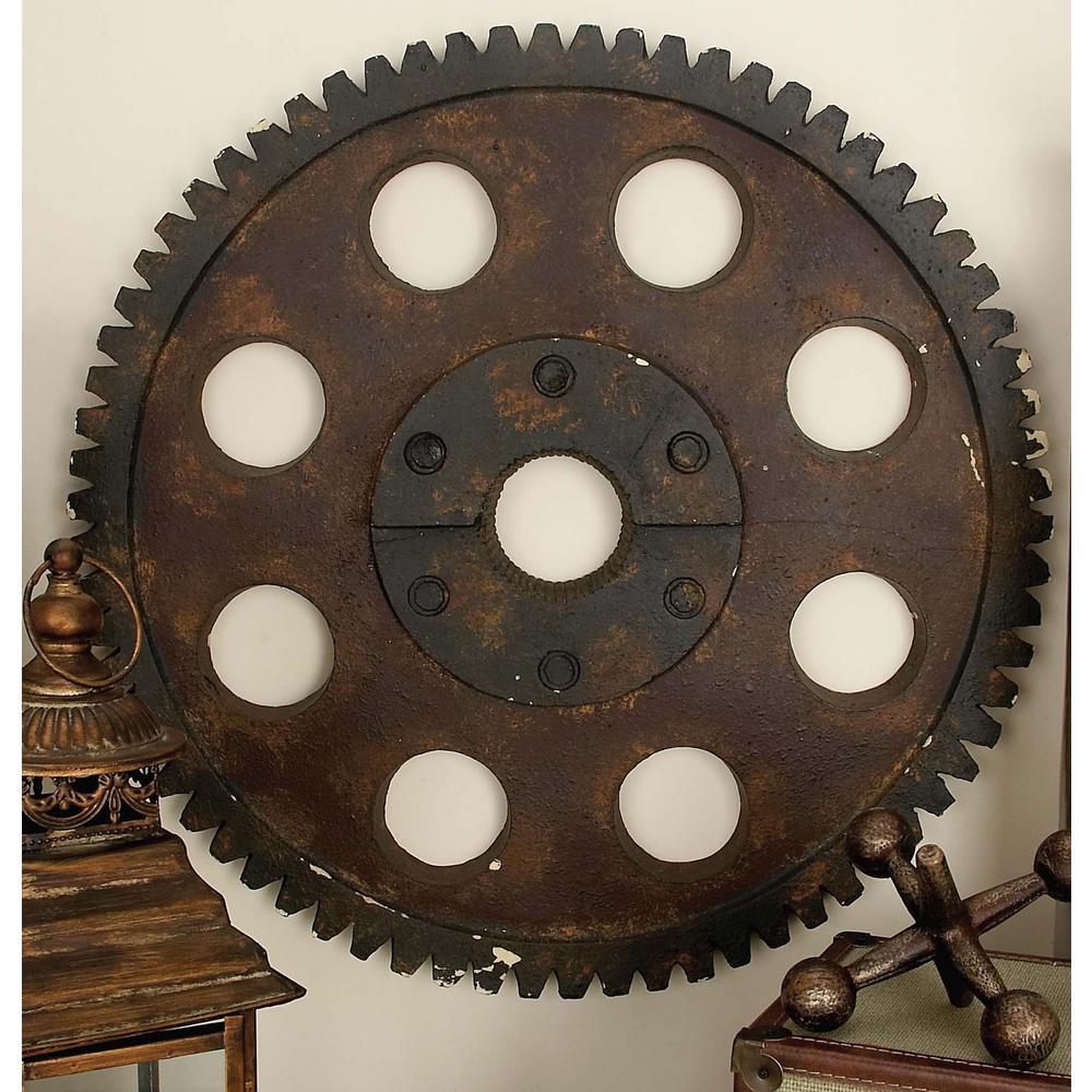 24 in. Industrial Inspired Brown Polyurethane Gear Wall Decor