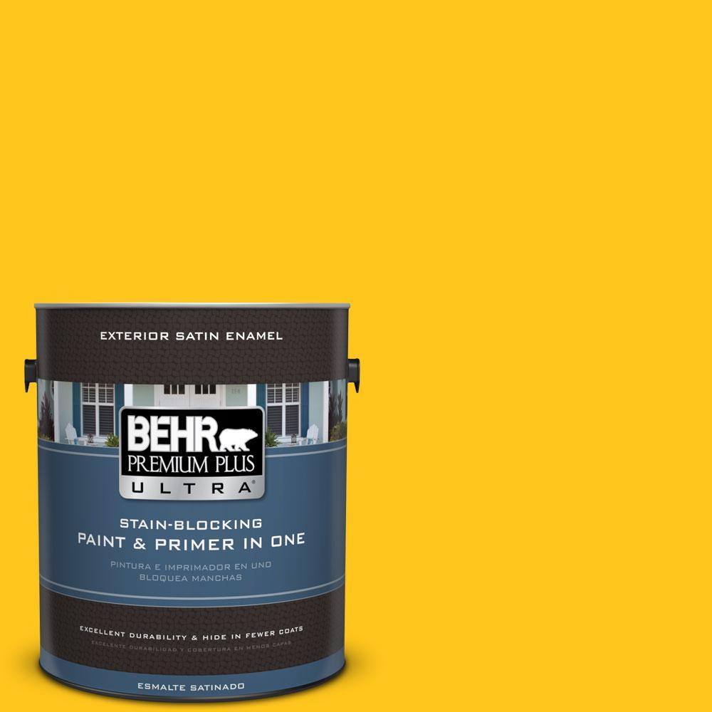 BEHR Premium Plus Ultra 1-gal. #P300-7 Unmellow Yellow Satin Enamel Exterior Paint