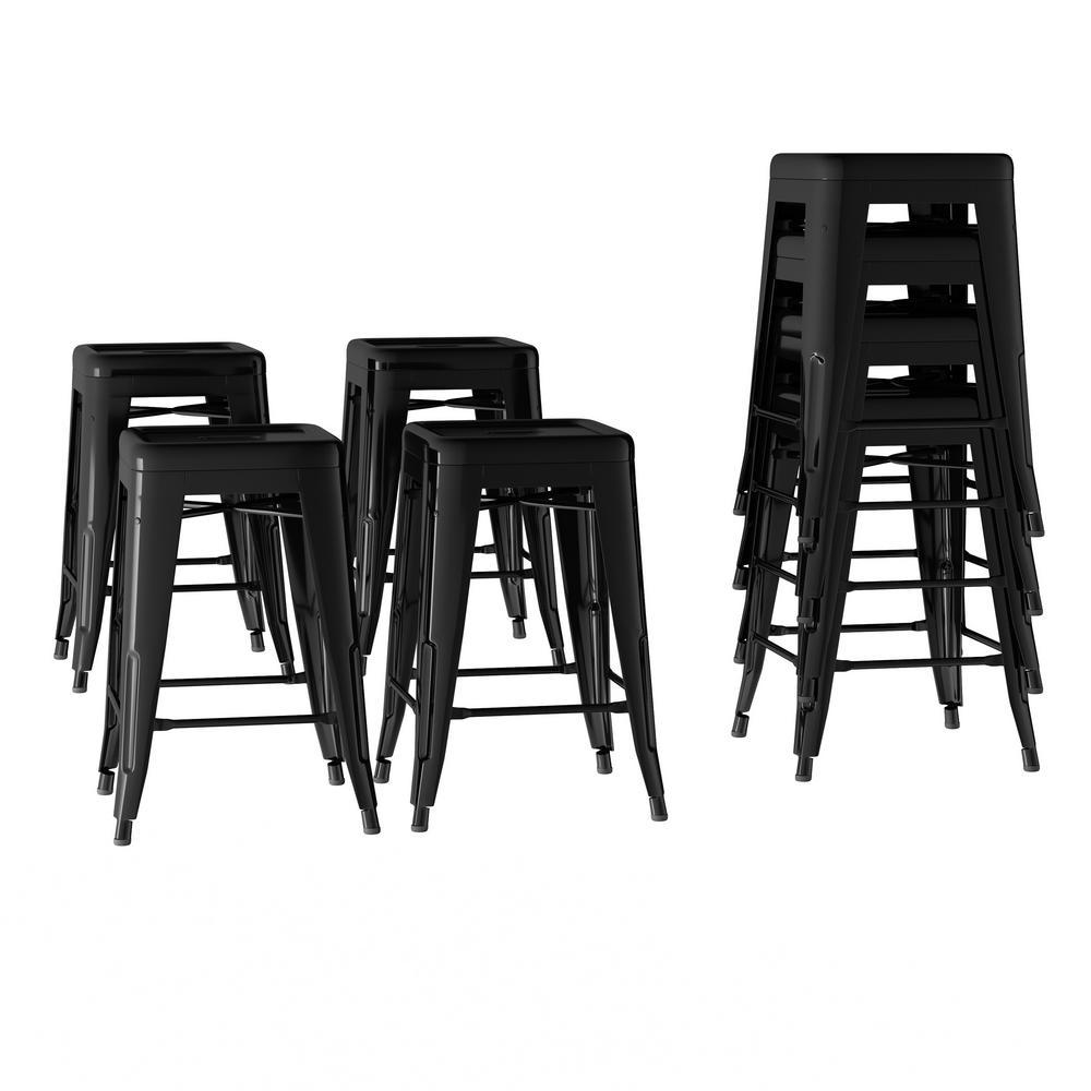 Fantastic Lavish Home 24 In Stackable Backless Black Metal Bar Stool Uwap Interior Chair Design Uwaporg