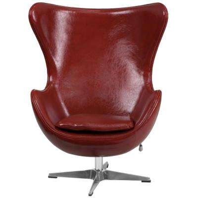 Cordovan Red Leather Egg Chair with Tilt-Lock Mechanism