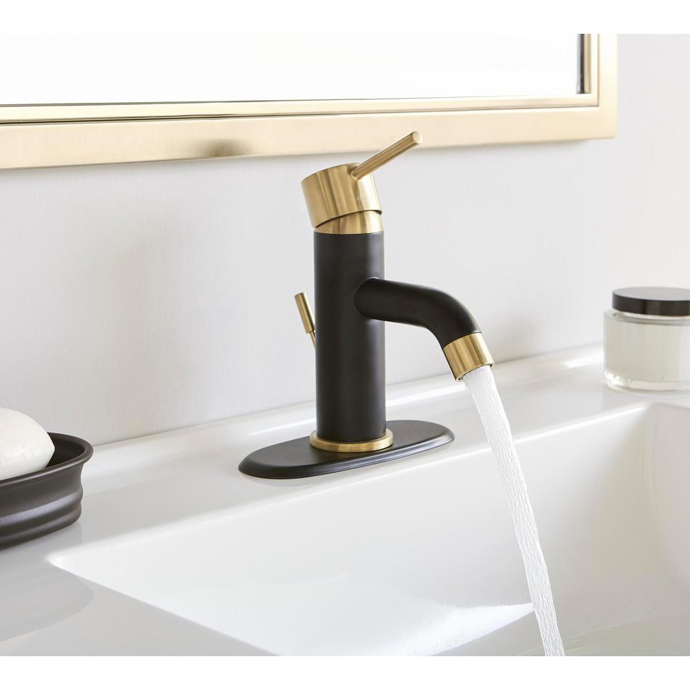 Glacier Bay Modern Single Hole, Two Tone Bathroom Faucets