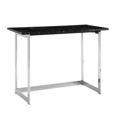 42 in. Black Marble / Chrome Contemporary Modern Faux Marble Work Writing Computer Desk -