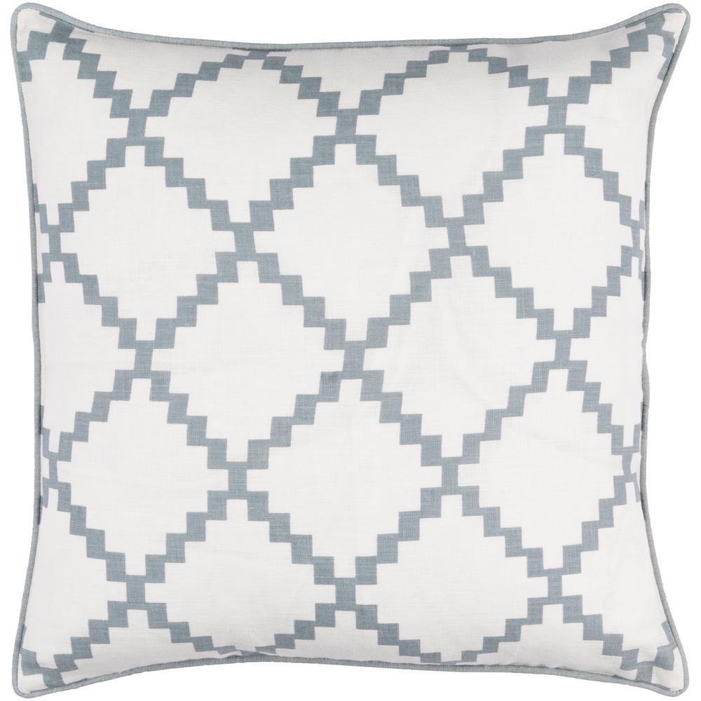 Sibiu Medium Gray Geometric Polyester 22 in. x 22 in. Throw Pillow