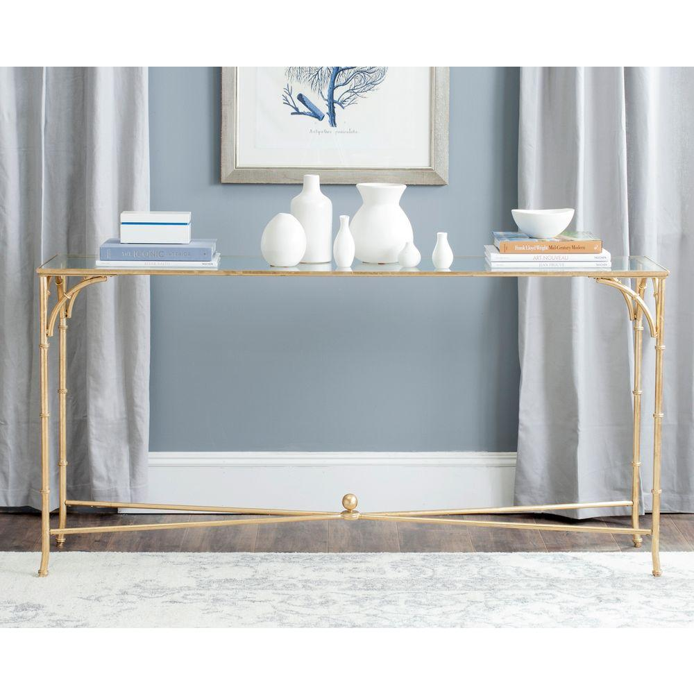 Safavieh Maurice Gold Tempered Glass Top Console Table