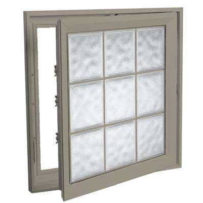 21 in. x 21 in. Right-Hand Acrylic Block Casement Vinyl Window with Driftwood Interior and Exterior