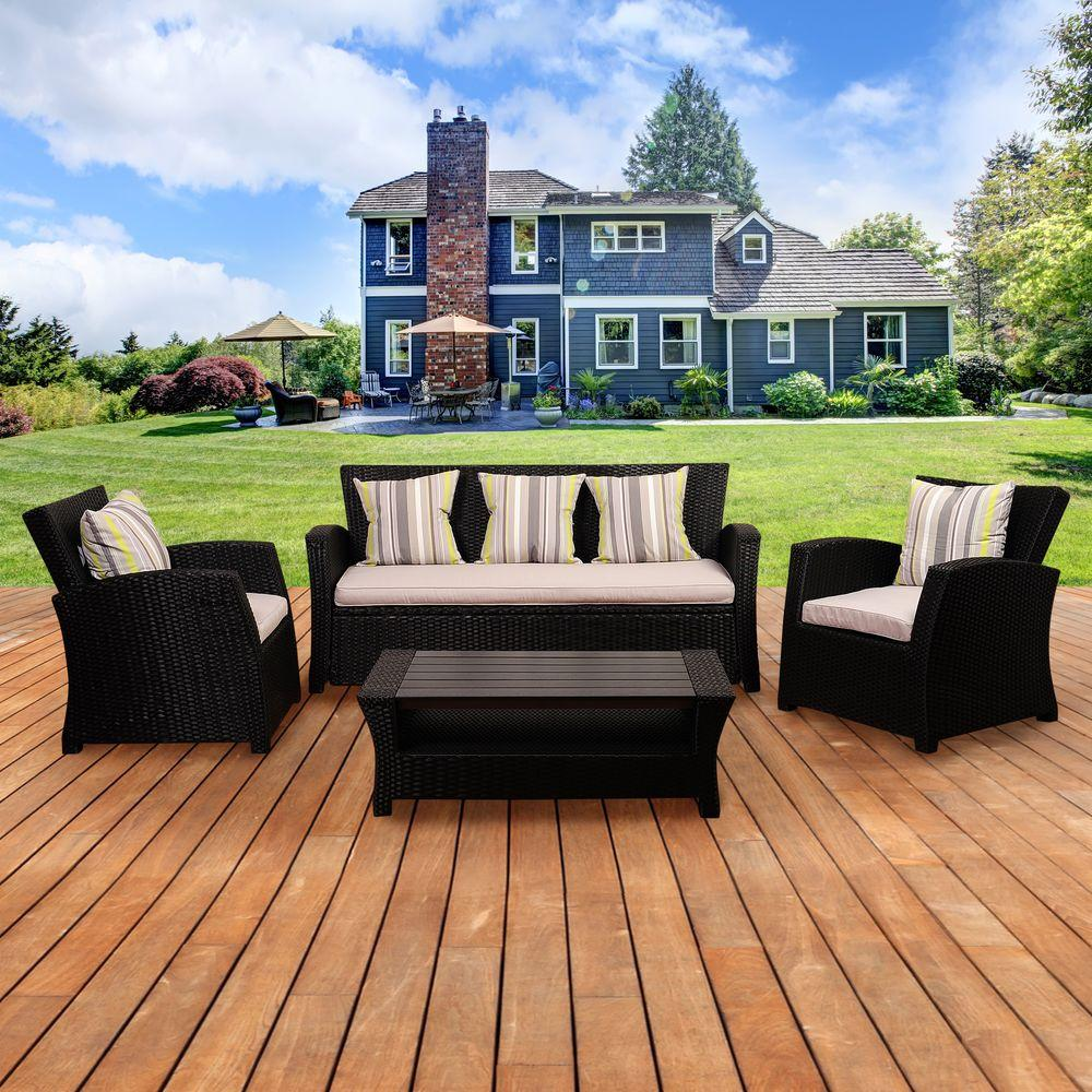 Atlantic Contemporary Lifestyle Bradley Black Synthetic Wicker Seating Set Light Grey Cushions