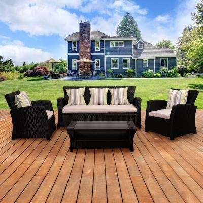 Atlantic Bradley 4-Piece Black Synthetic Wicker Patio Seating Set with Light Grey Cushions