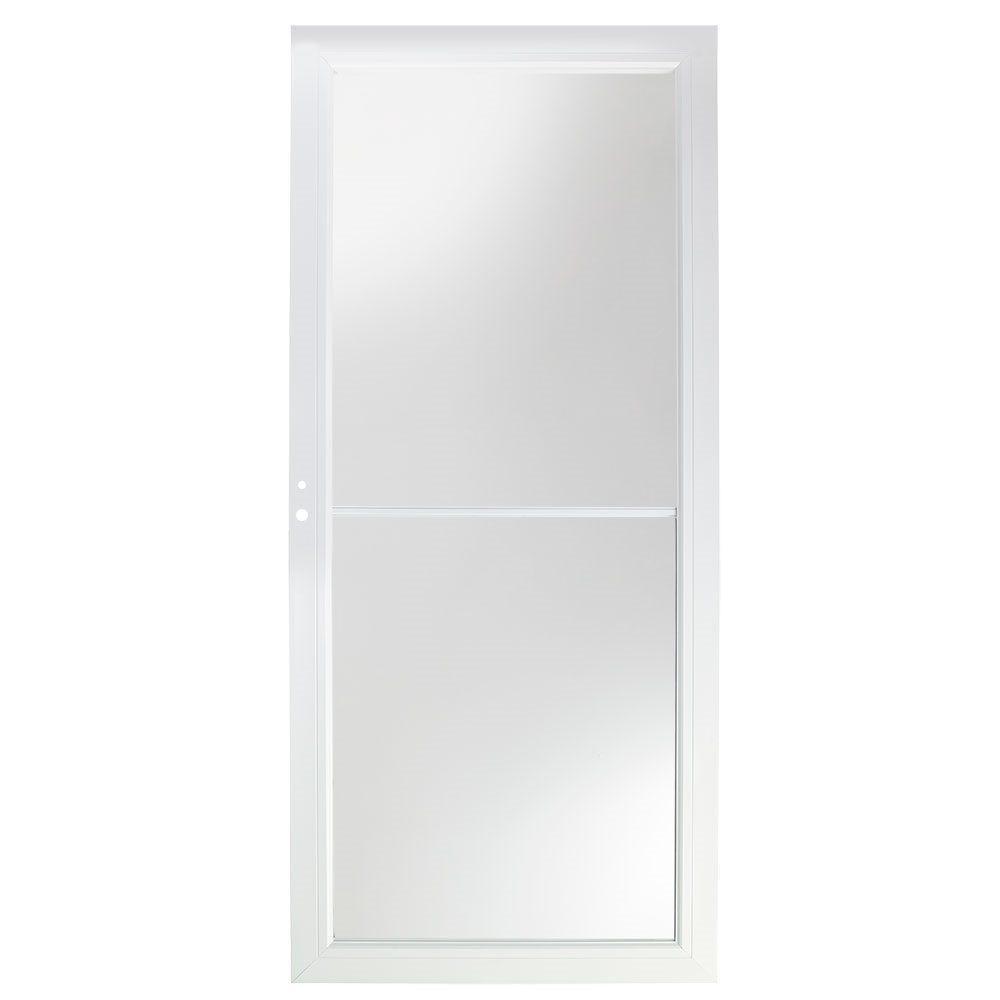 32 in. x 80 in. 3000 Series White Left-Hand Self-Storing Easy Install Aluminum Storm Door