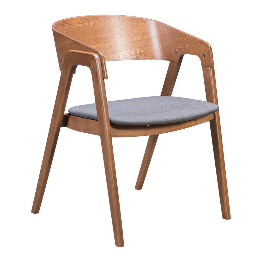 Alden Walnut and Dark Gray Dining Arm Chair (Set of 2)