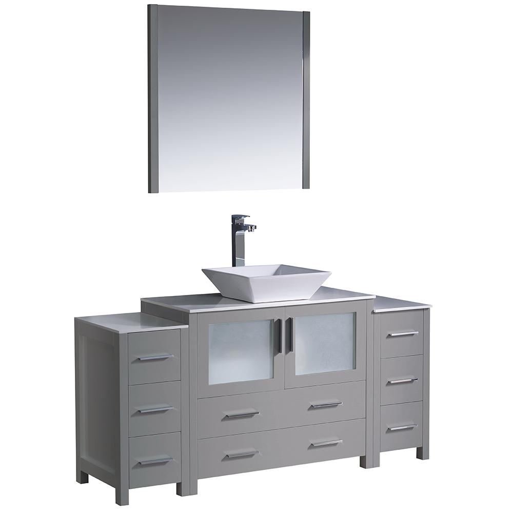 Fresca Torino 60 in. Bath Vanity in Gray with Glass Stone Vanity Top ...