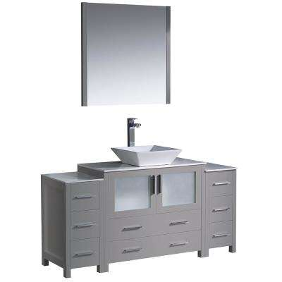 Torino 60 in. Bath Vanity in Gray with Glass Stone Vanity Top in White with White Vessel Sink, Side Cabinets and Mirror