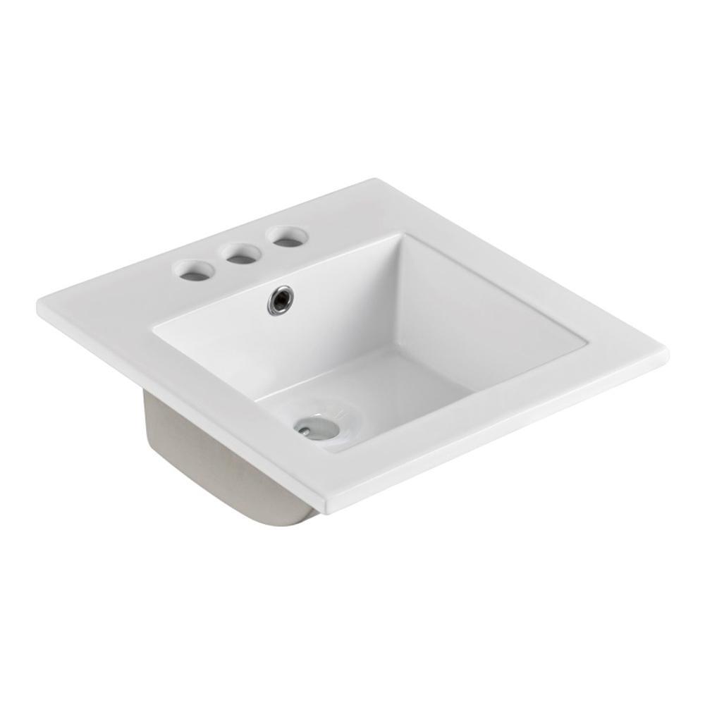 16 Inch Drop In Ceramic Bathroom Sink Basin Rectangle