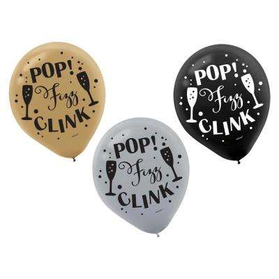 12 in. Happy New Year Printed Latex Balloons in Black, Silver and Gold