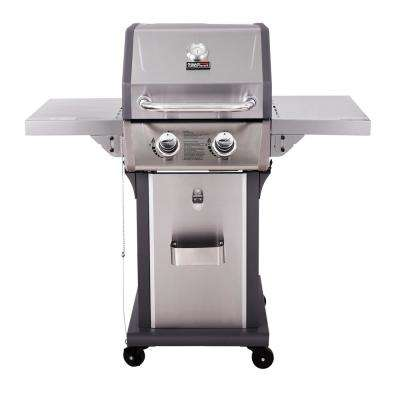 Deluxe 2-Burner Patio Propane Gas Grill in Stainless Steel with Folding Side Tables