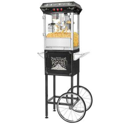 Popcorn Black Good Time 8 oz. Full Popcorn Popper Machine with Cart