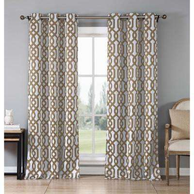 """Geometric Taupe Polyester Blackout Grommet Window Curtain 38 in. W x"""" 112 in. L 2-Pack"""