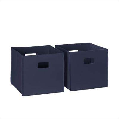 10.5 in. x 10 in. Folding Storage Bin Set in Navy (2-Piece)