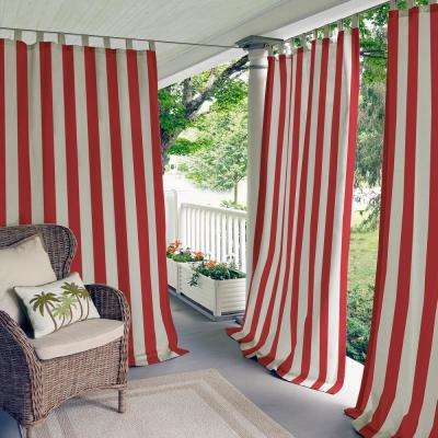 Highland Stripe 50 in. W x 95 in. L Indoor/Outdoor Tab Top Window Curtain Red