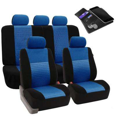 Fh Group Fabric 47 In X 23 In X 1 In Deluxe 3d Air Mesh Full Set Seat Covers Dmfb060blue115 The Home Depot