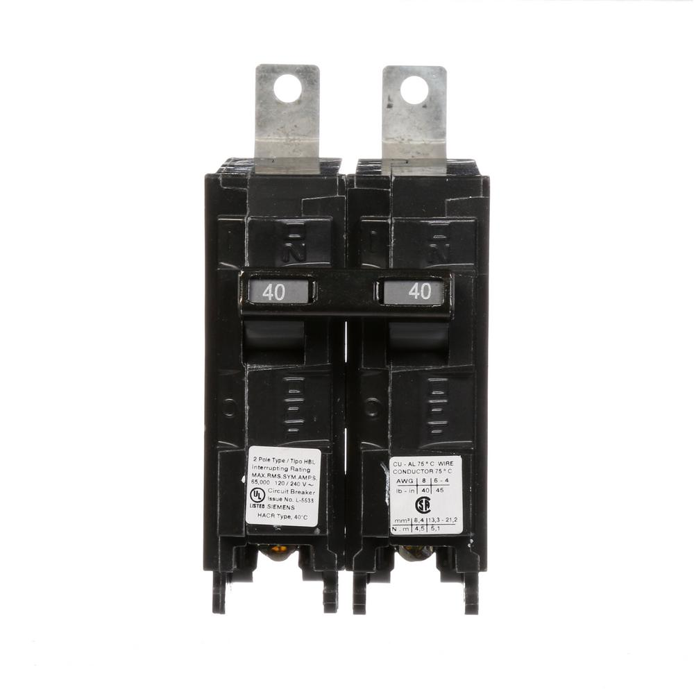 Sie 40 Amp 2-Pole Type HBL 65 kA Circuit Breaker-B240HH - The ...  Amp Circuit Breaker Wiring on 40 amp electrical panels, 40 amp electric wire, circuit breaker panel wiring,