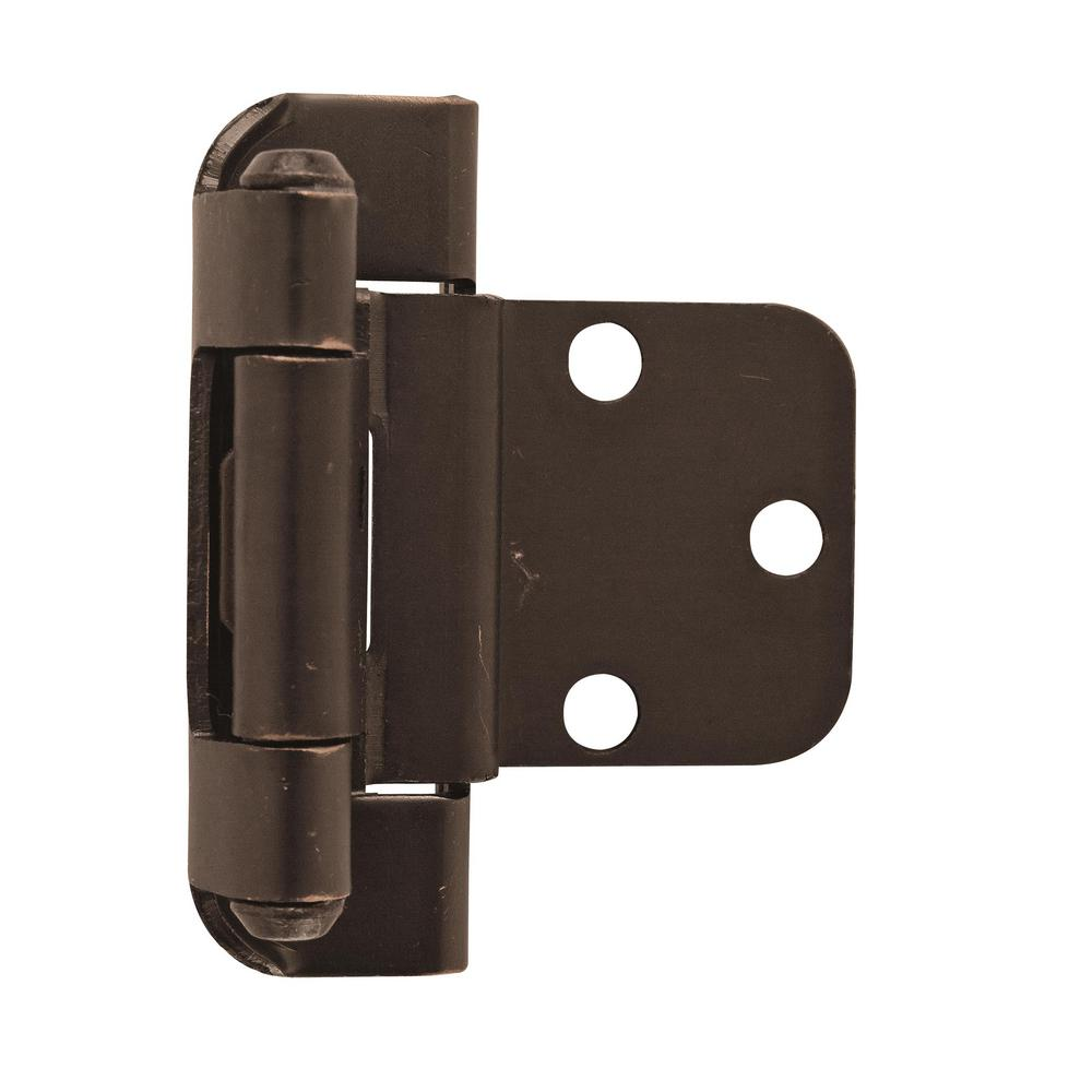 Amerock 3/8 in. (10 mm) Oil-Rubbed BronzeInset Self-Closing, Partial Wrap Hinge (2-Pack)