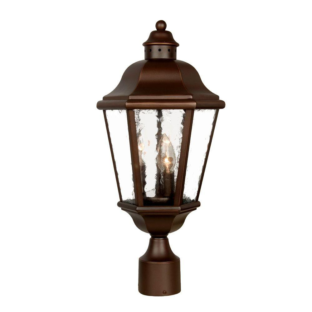 Acclaim Lighting Beaufort Collection Post-Mount 3-Light Outdoor Architectural Bronze Light Fixture