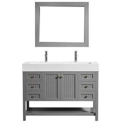Pavia 48 in. W x 20 in. D Vanity in Grey with Acrylic Vanity Top in White with White Basin and Mirror