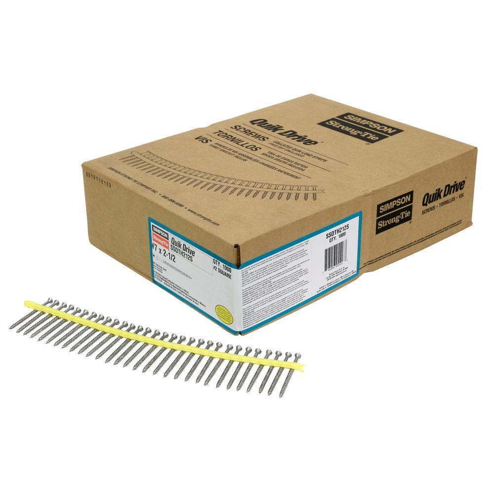 Simpson Strong-Tie Quik Drive #7 2-1/2 in. 305 Stainless Steel SSDTH Trim-Head Collated Decking Screw (1,000 per Box)