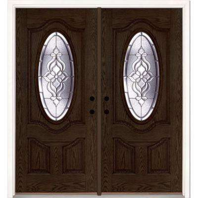 74 in. x 81.625 in. Lakewood Zinc 3/4 Oval Lite Stained Walnut Oak Right-Hand Fiberglass Double Prehung Front Door